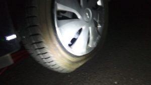 サイドウォール損傷のタイヤ
