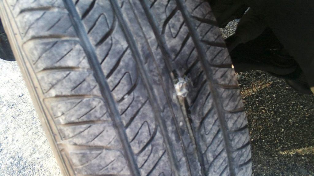 外面修理のタイヤ